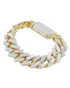"Yellow Gold Layered Baguette Diamond pronged Cuban Bracelet 19MM 7.75"" 20CT"