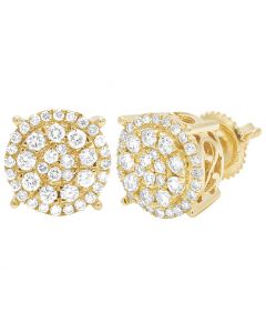 10K Yellow Gold Cluster Real Diamond Earrings 12mm 1.5CT