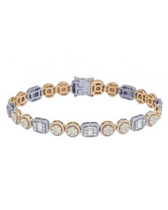 "14K Two Tone Baguette Halo Cluster Diamond Bracelet 8MM 8.5"" 6.75CT"