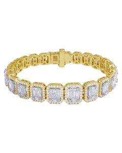 Yellow Gold Graduating Baguette Rectangular Halo Bracelet 12.5CT