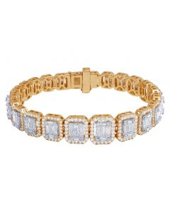 Rose Gold Graduating Baguette Rectangular Halo Bracelet 12.5CT