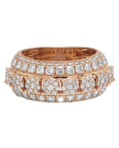 10K Rose Gold Real Diamond Cluster Wedding Band Ring 2.60 CT 11.5MM