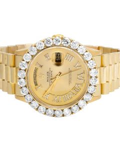 Rolex 18K Yellow Gold Presidential 36MM 18238 Day-Date Diamond Watch 6.75 Ct