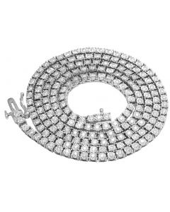 Mens 10K White Gold 1 Row Tennis Choker Real Diamond Chain Necklace 3.8CT 24""