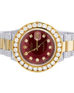 Rolex Datejust 36MM 18K/ Steel Two Tone Red Dial Diamond Watch 11.75 Ct