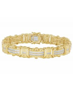 Real Diamond Yellow Gold Finish Men's Designer Bracelet 1/2 CT 12MM