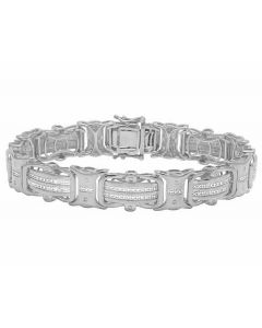 Real Diamond White Gold Finish Men's Designer Bracelet 1/2 CT 12MM