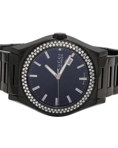 Gucci Black PVD 115 Pantheon 44MM Diamond Watch YA115244 2.25 Ct