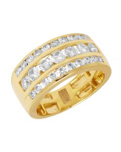 Men's 14K Yellow Gold Diamond Three Row Wedding Band Ring 3 CT 11MM