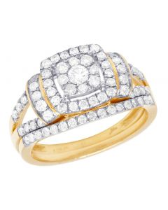 Bridal 14K Yellow Gold Diamond Square Halo Cluster Ring Set 1 Ct