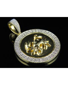10K Yellow Gold Cancer Zodiac Crab Diamond Pendant  0.60ct