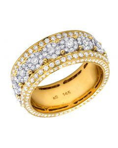 14K Yellow Gold Real Diamond Cluster Eternity Wedding Band Ring 3 CT 10MM