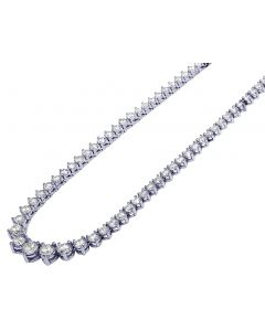 "18K White Gold Ladies Diamond Graduated Martini Necklace 12CT 17"" 3MM"