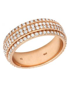 14K Rose Gold Real Diamond 4 Row Wedding Band Ring 2.10 CT 7MM