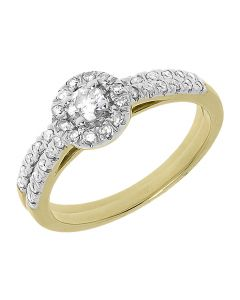 10k Yellow Gold Round Diamond Halo Solitaire Bridal Ring Set (0.50 ct)