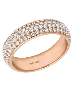 14K Rose Gold Real Diamond Wedding Band Ring 2.35 CT 6MM