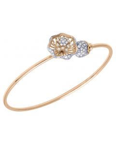 14K Rose Gold Real Diamond Flower Ball Flex Bangle 1.15 CT