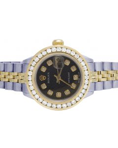 Ladies Rolex Datejust 18K/ Steel 26MM Black Dial Diamond Watch 2.75 Ct