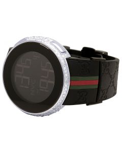 Mens I-Gucci Digital Steel Diamond Watch YA114207 6.5 Ct