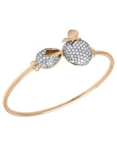 14K Rose Gold Real Diamond Ladies Flower Bud Butterfly Leaf Ball Flex Bangle 2.65 CT