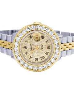 Ladies Rolex Datejust 18K/ Steel 30MM Bezel Diamond Watch 4.25 Ct
