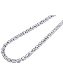 "14K White Gold 6MM Rectangle Halo Diamond Baguette Necklace 22"" 13CT"