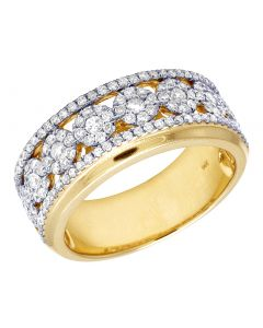 14K Yellow Gold Real Dimond Cluster Band Ring 1.30 CT 10MM