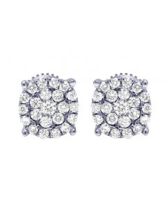 10K White Gold 4 Prong Real Diamond Round Cluster Earrings 7mm 0.50 CT