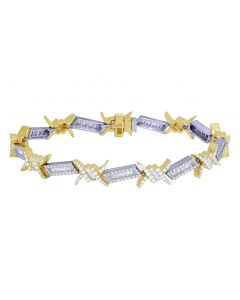 10K Yellow/ White Gold 5.5 CT Diamond Baguette Thorn Bracelet 8.5""
