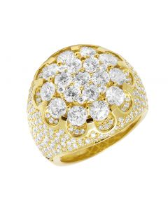 Men 14K Yellow Gold Flower Cluster XL 3D Real Diamond Pinky Ring 24MM 7.75CT Size 10