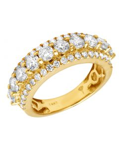 14K Yellow Gold Real Diamond Solitaire Band Ring 3.50 CT 8MM
