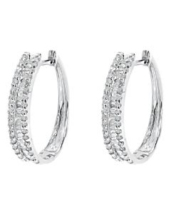10k White Gold Round Baguette Diamond Hoop Earrings (0.73 ct)