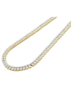 "Yellow Gold 6MM Diamond Baguette Invisible Set Necklace 21"" 17 CT"