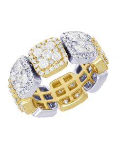 14K Two-Tone Gold Diamond Square Eternity Cluster Band Ring 8.5MM 4.1CT