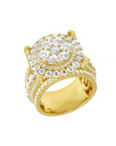 Men's 14K Yellow Gold Raised XL Cluster 2 Row Real Diamond Cluster Pinky Ring 6.16 CT 20MM