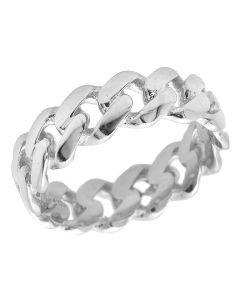 Solid 10K White Gold Miami Cuban Link Ring Band 7MM