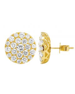 Mens 10K Yellow Gold Pave Cluster Real Diamond Stud Earrings 3.5CT 15mm