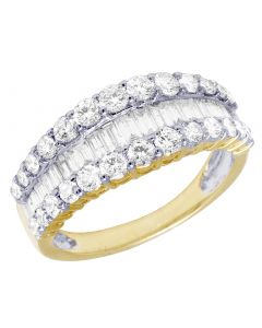 14k Yellow Gold Diamond Band Baguette Curved Ring 1.55CT 8MM