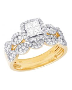 14K Yellow Gold Princess Cut Diamond Square Halo Wedding Ring Set 1 Ct