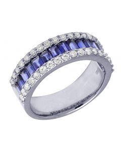 14K White Gold Baguette Sapphire 2.1 CT Diamond 0.65 CT Band
