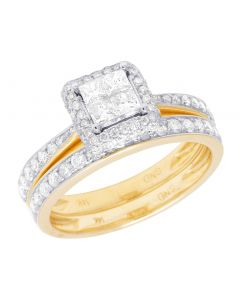 14K Yellow Gold Princess Cut Diamond Square Halo Bridal Ring Set 1 Ct