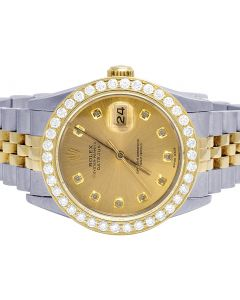 Rolex Datejust 78273 18K/ Steel 31MM Champagne Dial Diamond Watch 2.5 Ct