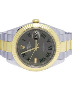 Mens Rolex Datejust II 41MM 116333 Two Tone Wimbledon Dial Watch