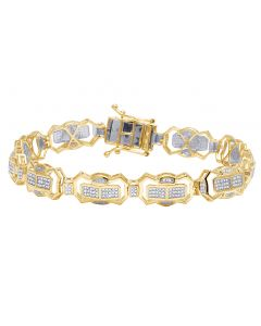 Men's 10K Yellow Gold Diamond 10MM Designer Bracelet 1.5 CT 8.5""