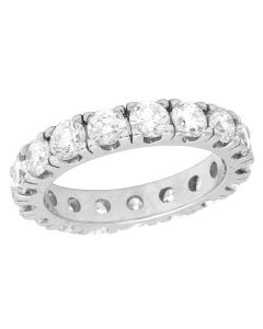 10K White Gold Diamond Solitaire Eternity Wedding Band Ring 4.95 CT 4MM
