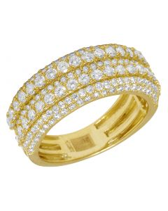 Men's 10K Yellow Gold Real Diamond Wedding Band Ring 2.60 CT 10MM