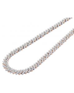 10K Two-Tone Gold 1 Row Diamond Miami Cuban Necklace Chain 8MM 18-21""