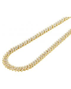 10K Yellow Gold 1 Row Diamond Miami Cuban Necklace Chain 8MM 18-21""