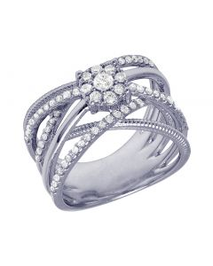 14K White Gold Crisscross Flower Cluster Designer Ring 0.75CT