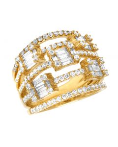Ladies 18K Yellow Gold Openwork Baguette Diamond Designer Ring 18MM 2CT